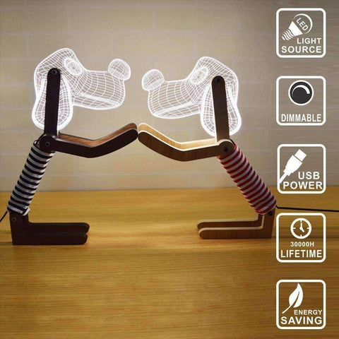 Wooden 3D LED Dog Light