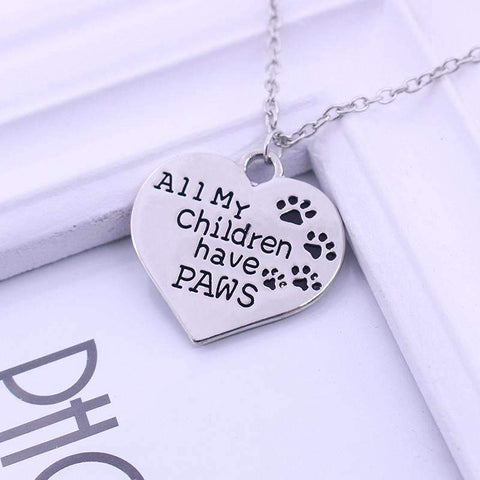 """All My Children Have Paws"" Heart-Shape Pendant Necklace"