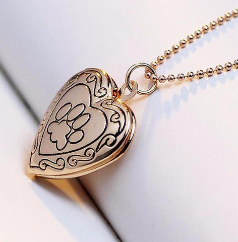Photo Frame Memory Dog Paw Pendant Necklace