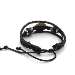 Vintage Black Leather Dog Lover's Bracelet