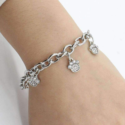 Dog Paws Footprints Crystal Bracelet