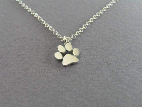 Dog Paw Print Pendant Necklace Gold or Silver