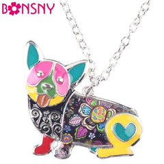 Enamel Corgi Dog Pendant Necklace. 7 Colors