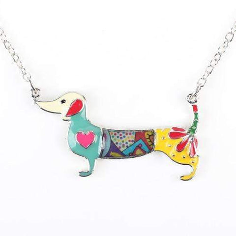 Enamel Dachshund Dog Pendant Necklace 5 Colors