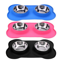 Stainless Steel Bone Shape Double Dog Feeding bowls