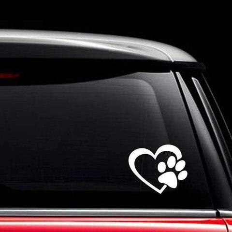 Heart with DOG PAW Puppy Decal Window Sticker