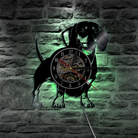 Dachshund Color Changing Vinyl Wall Clock