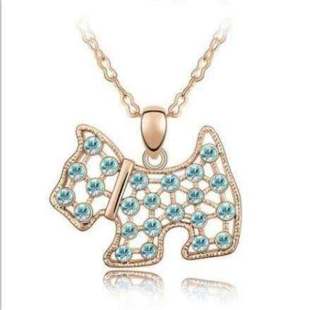 Austrian Crystal Westie/Scottie Dog Pendant Necklace