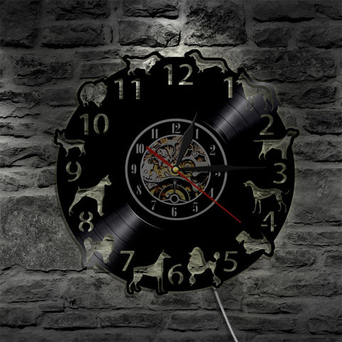 Multi-Breed Color Changing Vinyl Wall Clock