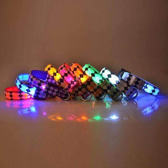 Light Up LED Rhombus Pattern Nylon Dog Collar. 7 colors.