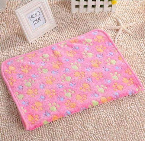 16 x 24 Inch Paw Print Soft Fleece Blanket/Pet Bed