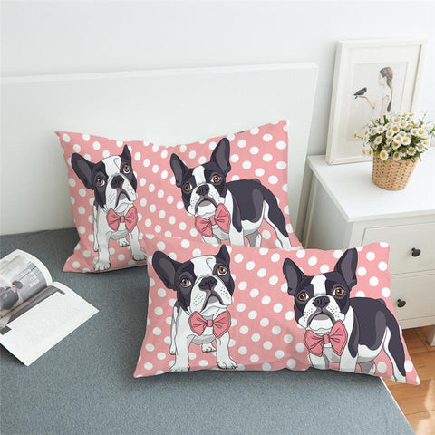 Pink French Bulldog Pillow Cases 2pc Set