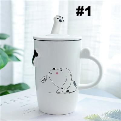 Cartoon Dog Ceramic Mugs Heat-resistant Cup with Lid and Spoon