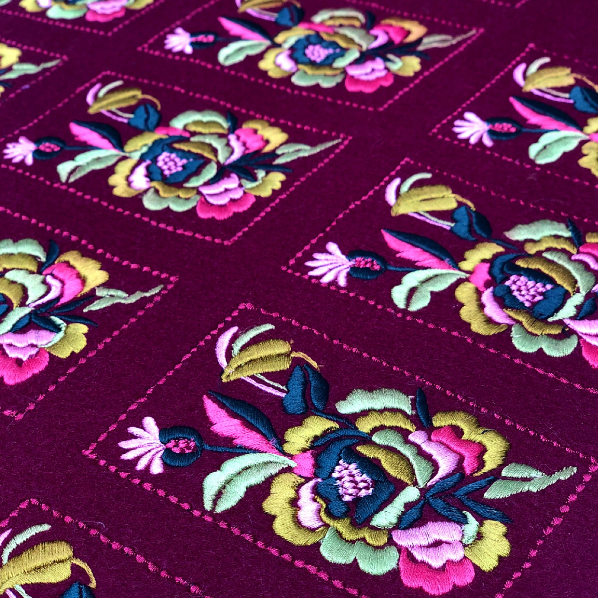 Burgundy Floral Card Patch - 050