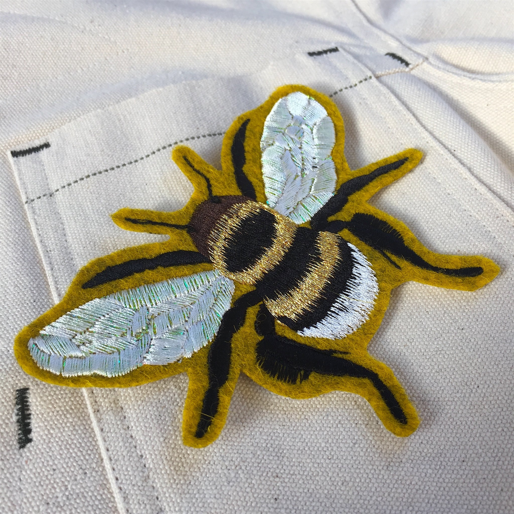 Iridescent bee on yellow embroidered patch. 033 - Ltd Edition.
