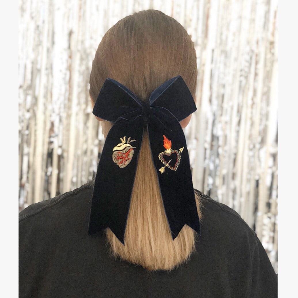 Navy Velvet Hair Bow -  Limited Edition 047