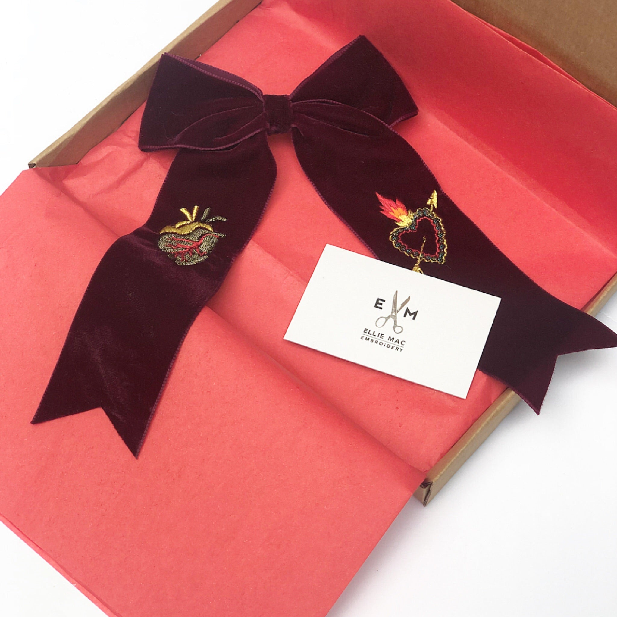 Burgundy Velvet Hair Bow -  Limited Edition 048