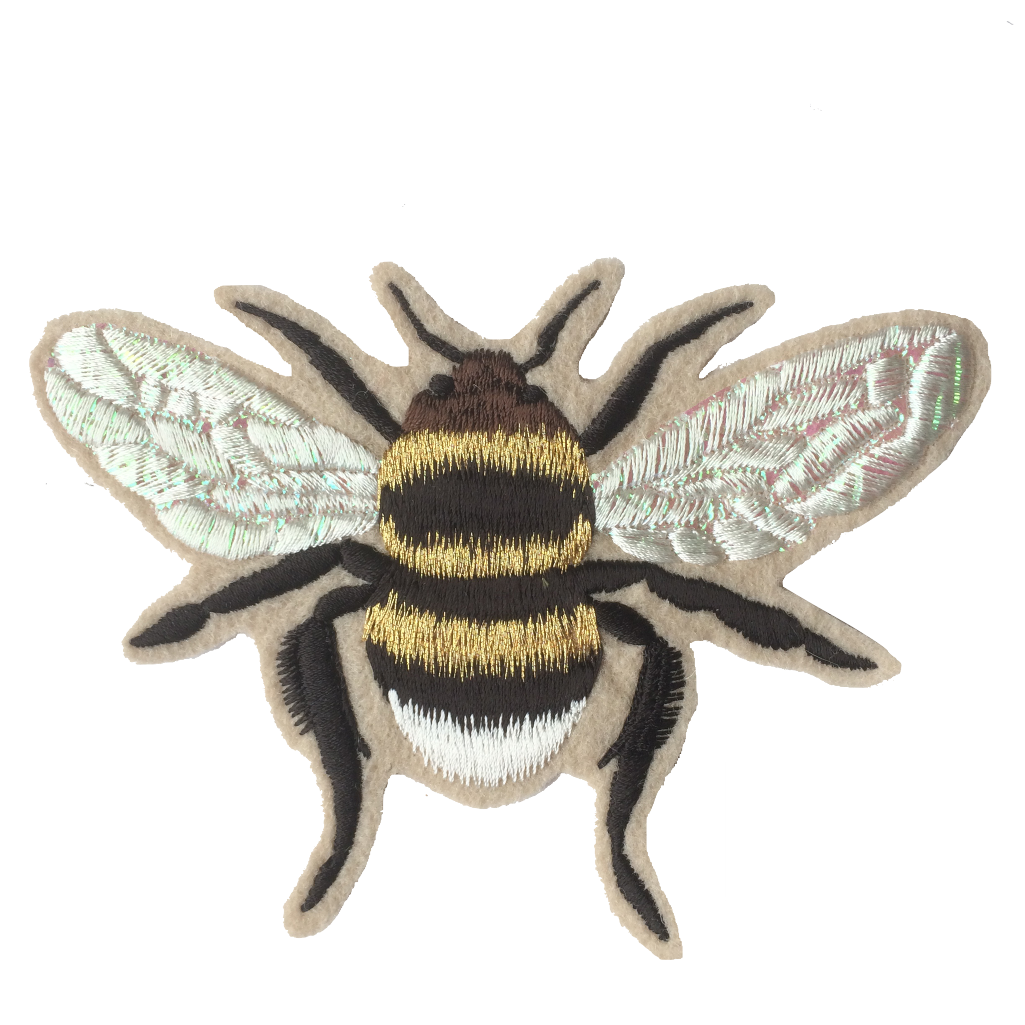 Gold Iridescent Bee Embroidered Patch  010 - Ltd Edition