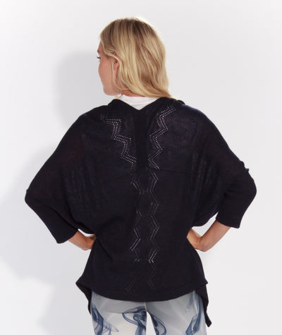 Pointelle Shawl Sweater