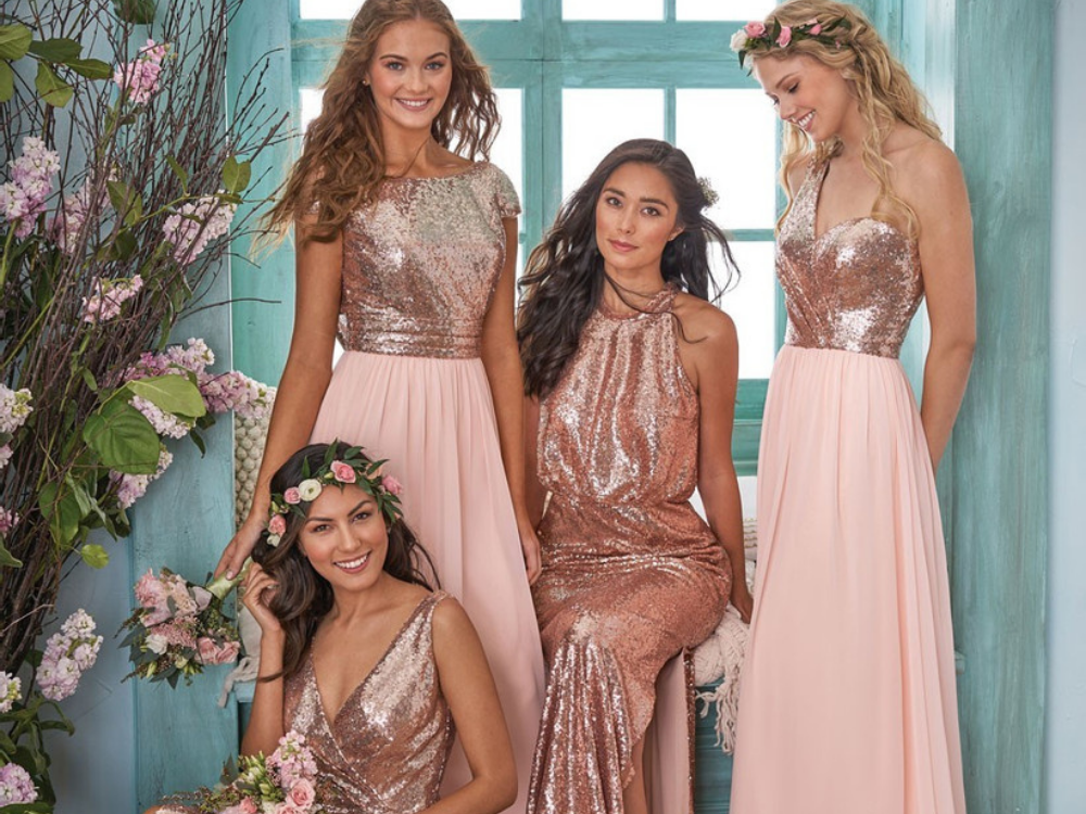 2 Stylish Rose Gold Bridesmaid Dresses from the Latest Collection of SposaDresses