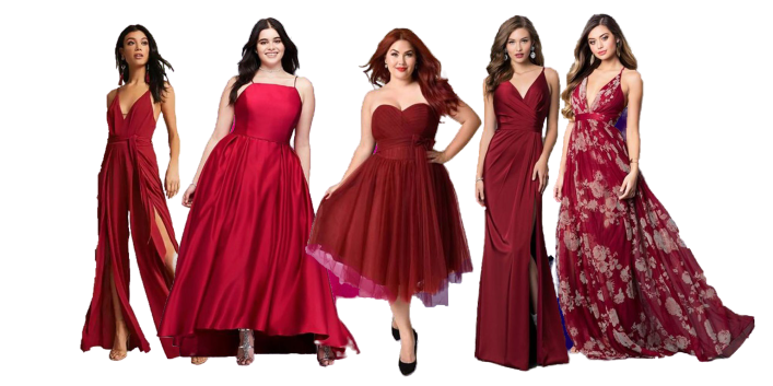 3 Flattering Burgundy Prom Dresses from the All-New Collection of SposaDresses