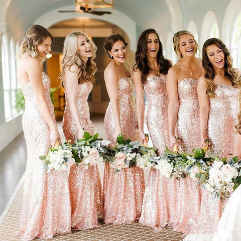 rose gold brides maid dress