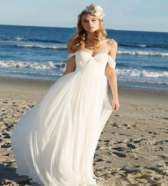 off shoulder beach wedding dresses