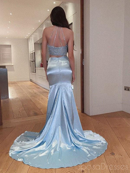 Blue Two Pieces Sleeveless Long Prom Dresses, Sweet 16 Prom Dresses, 12428