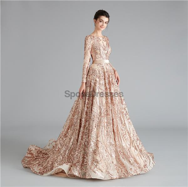 Long Sleeves Sparkly Rose Gold Backless Evening Prom Dresses, Evening Party Prom Dresses, 12111