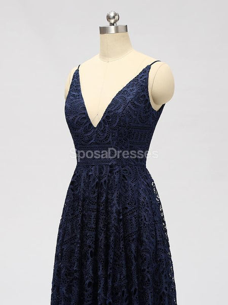 Spaghetti Strapls Lace Navy Lace Short Cheap Bridesmaid Dresses Online, WG588