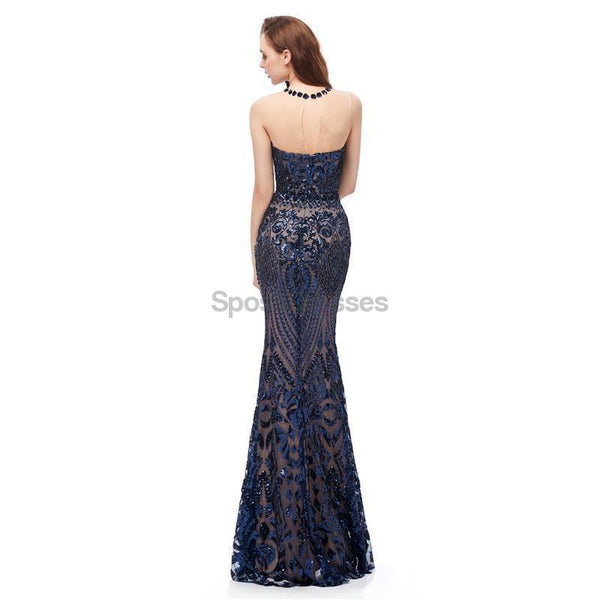 Jewel Neck Sparkly Sequin Evening Prom Dresses, Evening Party Prom Dresses, 12104