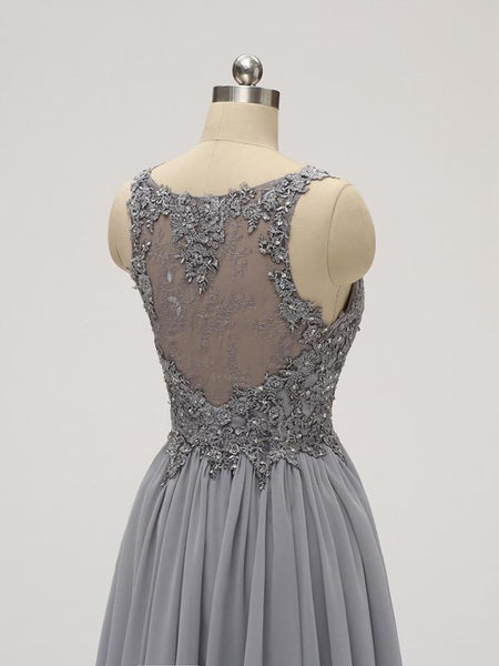 Lace Straps Grey Chiffon Short Cheap Homecoming Dresses Online, CM814