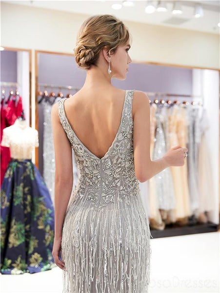Gray V Neck Lace Beaded Mermaid Evening Prom Dresses, Evening Party Prom Dresses, 12044