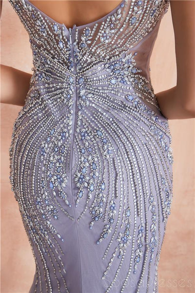 Heavily Beaded Lilac Mermaid Evening Prom Dresses, Evening Party Prom Dresses, 12110