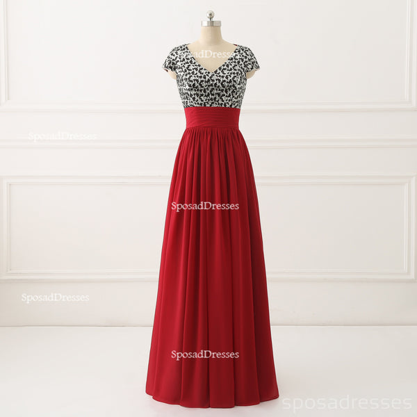Short Sleeve Sequin Top Red Chiffon Skirt V Neckline Custom Bridesmaid Dresses, Cheap Unique Chiffon Long Bridesmaid Gown, BD120