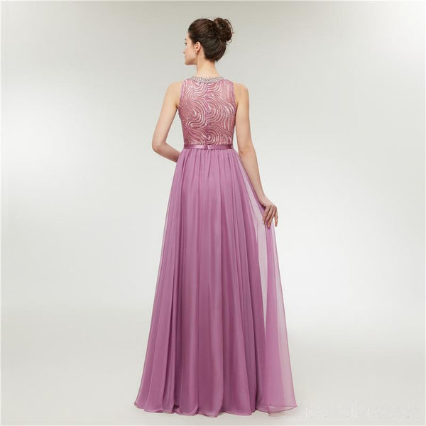 Jewel Purple Beaded Cheap Long Evening Prom Dresses, Evening Party Prom Dresses, 12001