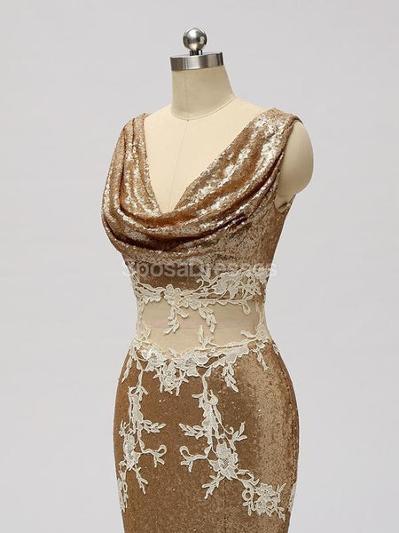 V Neck See Through Gold Sequin Mermaid Cheap Bridesmaid Dresses Online, WG599