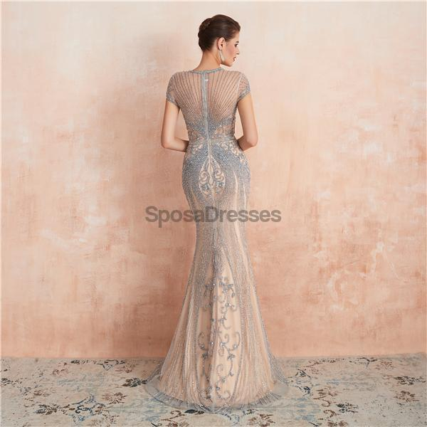 Cap Sleeves Heavily Beaded Mermaid Evening Prom Dresses, Evening Party Prom Dresses, 12134