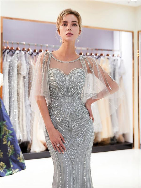 Silver Rhinestone Beaded Mermaid Evening Prom Dresses, Evening Party Prom Dresses, 12031