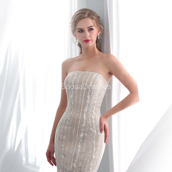 Straight Neckline Lace Mermaid Cheap Wedding Dresses Online, Unique Bridal Dresses, WD572