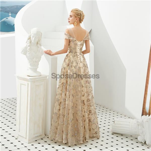 Off Shoulder Sparkly Gold Cheap Long Evening Prom Dresses, Evening Party Prom Dresses, 12125