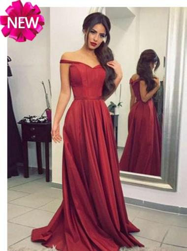 Simple Red Off Shoulder A-line Long Evening Prom Dresses, 17582