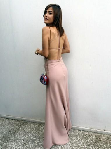 Sexy Simple Backless Spaghetti Straps Long Evening Prom Dresses, 17585