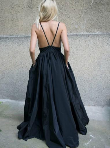 Black Sexy Backless Deep V Neck A-line Long Evening Prom Dresses, 17597