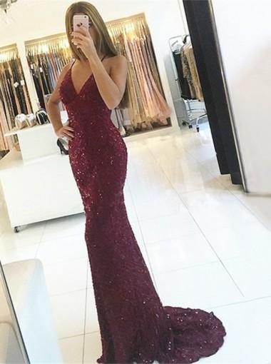 Sexy Backless Lace Beaded Maroon Mermaid Long Evening Prom Dresses, 17599