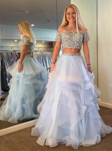 Two Pieces Off Shoulder Beaded Tulle Ruffle A-line Long Evening Prom Dresses, 17600