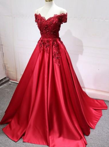Red Off Shoulder Lace Long A-line Evening Prom Dresses, 17539