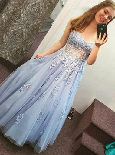 Light Blue See Through Blue Lace A-line Long Evening Prom Dresses, 17604
