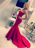 Simple Red Mermaid Strapless Long Evening Prom Dresses, 17606