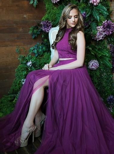 Purple Two Pieces Side Slit Halter Tulle Long Evening Prom Dresses, 17610